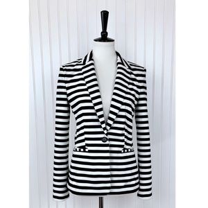 Express • Black White Stripe One Button Blazer • S